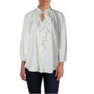 LRL Lauren Jeans Co Ruffled Button Down Blouse Top